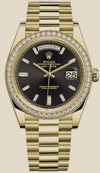 Rolex                                     Day-Date40 MM, YELLOW GOLD AND DIAMOND